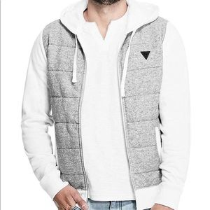 NWT white quilted hoodie